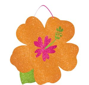 Glitter Orange Hibiscus Sign