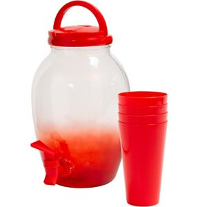 Red Portable Drink Dispenser with Cups