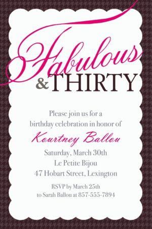 Custom Fabulous & Thirty Invitations