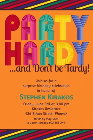 Custom Party Hardy Surprise Invitations