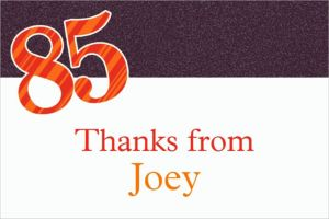 Custom Big Celebration 85 Thank You Notes