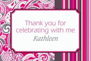 Custom Pink Paisley Thank You Notes