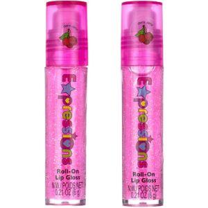 Bright Pink Glitter Cherry Roll-On Lip Gloss 2ct