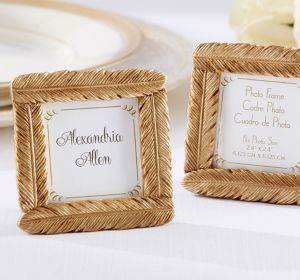 Gold Feather Photo Frame Place Card Holder