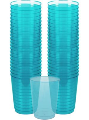 Caribbean Blue Plastic Cups 72ct