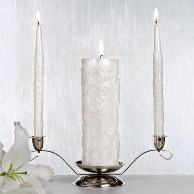 White Damask Unity Candle Set 3pc
