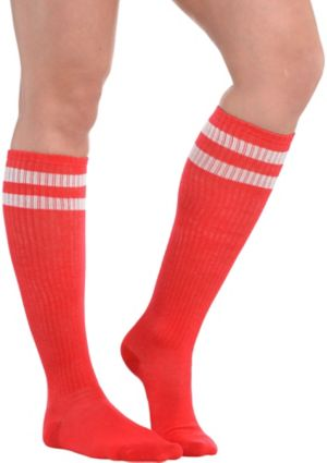 Red Stripe Athletic Knee-High Socks