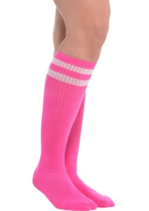 Pink Stripe Athletic Knee-High Socks