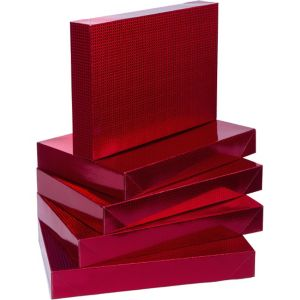 Prismatic Red Clothing Boxes 5ct