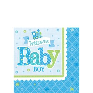 Welcome Baby Boy Baby Shower Beverage Napkins 16ct