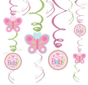 Welcome Baby Girl Baby Shower Swirl Decorations 12ct