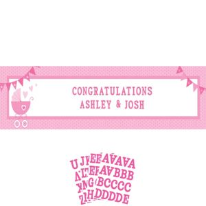 Giant Pink Stroller Baby Shower Personalized Banner Kit