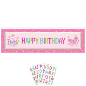 Giant Welcome Baby Girl Baby Shower Personalized Banner Kit