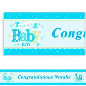 Custom Welcome Little One Boy Banner 6ft