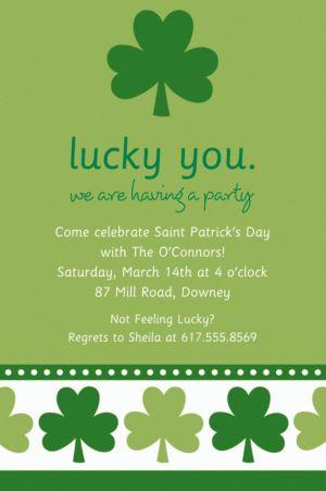 Custom Lucky Shamrocks Invitations