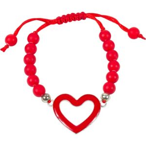 Red Sliding Knot Open Heart Bracelet
