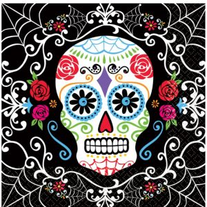 Sugar Skull Lunch Napkins 36ct Day Of The Dead Party City