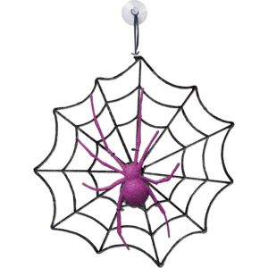 Glitter Spider & Web Decoration