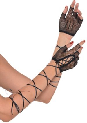 Black Lace-Up Fishnet Fingerless Gloves