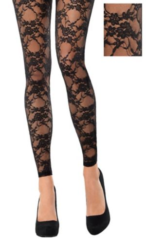 Black Lace Footless Tights