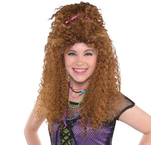 Brown 80s Crimped Wig