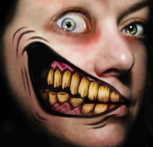 Big Mouth 2 Faced Face Tattoo