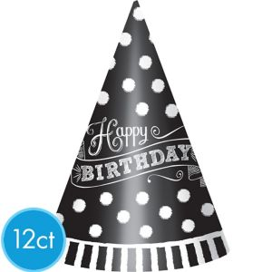 Black & White Happy Birthday Party Hats 12ct