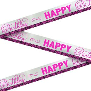 Metallic Black & Pink Birthday Banner