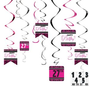 Black & Pink Birthday Swirl Decorations Kit