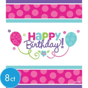 Purple & Teal Pastel Birthday Favor Bags 8ct