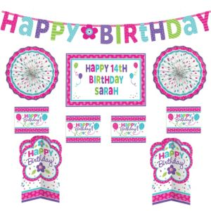 Customizable Purple & Teal Pastel Birthday Room Decorating Kit