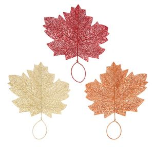 Glitter Fall Maple Leaves 3ct