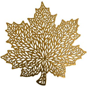 Metallic Gold Harvest Leaf Placemat 17in Party City