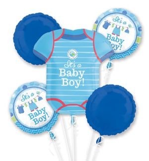 Boy Baby Shower Balloon Bouquet 5pc - Shower with Love
