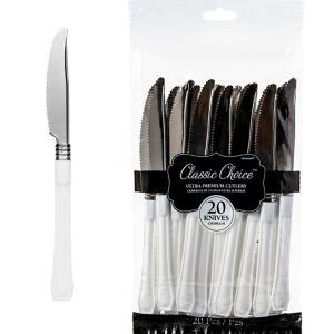 Classic Silver & White Premium Plastic Knives 20ct