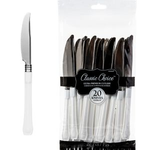 Classic Premium White Plastic Knives 20ct