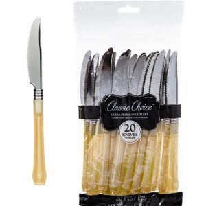 Classic Silver & Gold Premium Plastic Knives 20ct