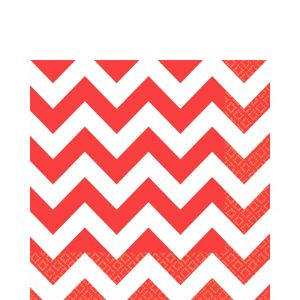 Red Chevron Lunch Napkins 16ct