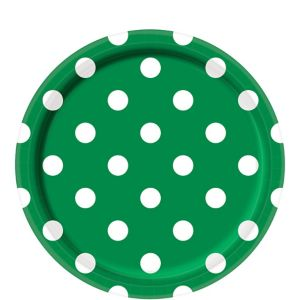 Festive Green Polka Dot Lunch Plates 8ct