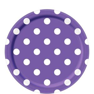 Purple Polka Dot Lunch Plates 8ct