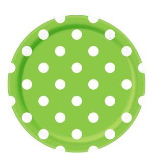 Kiwi Green Polka Dot Lunch Plates 8ct