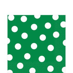 Festive Green Polka Dot Lunch Napkins 16ct