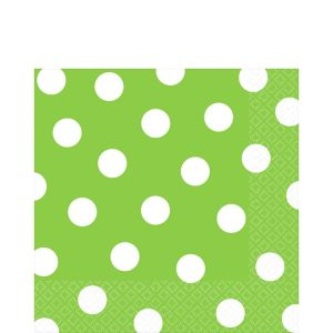 Kiwi Green Polka Dot Lunch Napkins 16ct
