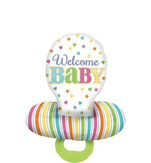 Pastel Rainbow Chevron Welcome Baby Pacifier Balloon - 3D
