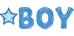 Boy Baby Shower Balloon Bouquet 4pc - Celebrate Letters
