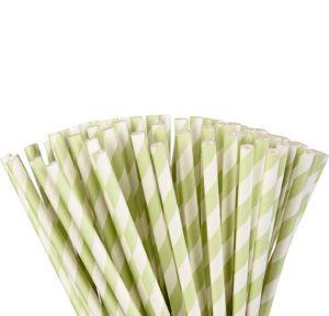 Leaf Green Striped Paper Straws 80ct