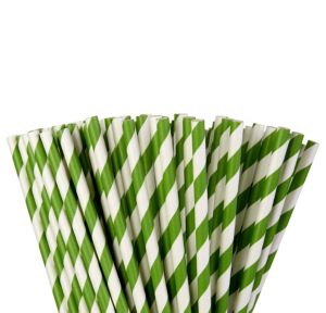 Kiwi Green Striped Paper Straws 80ct