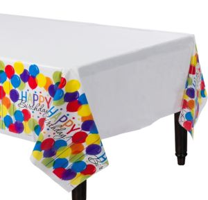Rainbow Balloon Bash Birthday Table Covers 3ct
