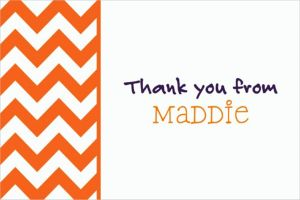 Custom Orange Chevron Thank You Notes