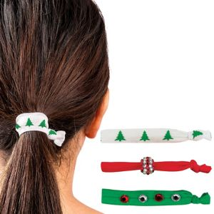 Christmas Ribbon Hair Ties 3ct